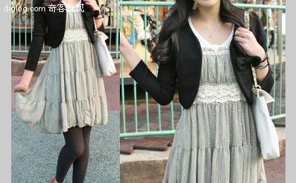 夏装冬穿2——雪纺裙+小外套的巧妙搭配